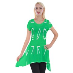 Icon Sign Green White Short Sleeve Side Drop Tunic by Alisyart