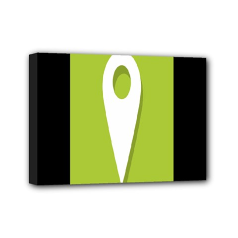 Location Icon Graphic Green White Black Mini Canvas 7  X 5  by Alisyart