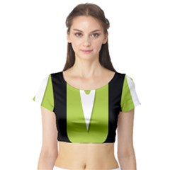 Location Icon Graphic Green White Black Short Sleeve Crop Top (tight Fit)