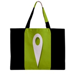 Location Icon Graphic Green White Black Zipper Mini Tote Bag