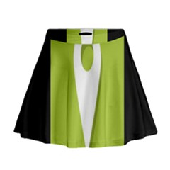 Location Icon Graphic Green White Black Mini Flare Skirt by Alisyart