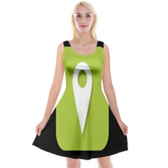 Location Icon Graphic Green White Black Reversible Velvet Sleeveless Dress