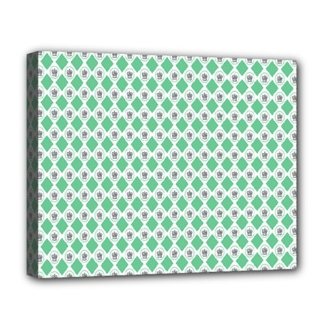 Crown King Triangle Plaid Wave Green White Deluxe Canvas 20  X 16   by Alisyart