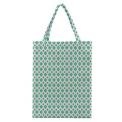 Crown King Triangle Plaid Wave Green White Classic Tote Bag