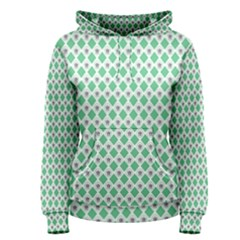 Crown King Triangle Plaid Wave Green White Women s Pullover Hoodie
