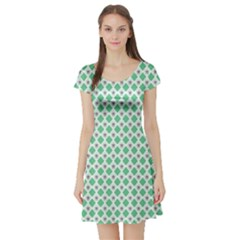 Crown King Triangle Plaid Wave Green White Short Sleeve Skater Dress