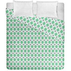 Crown King Triangle Plaid Wave Green White Duvet Cover Double Side (california King Size)