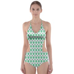 Crown King Triangle Plaid Wave Green White Cut Out One Piece Swimsuit