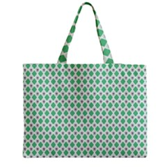 Crown King Triangle Plaid Wave Green White Medium Tote Bag