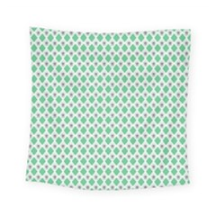 Crown King Triangle Plaid Wave Green White Square Tapestry (small)