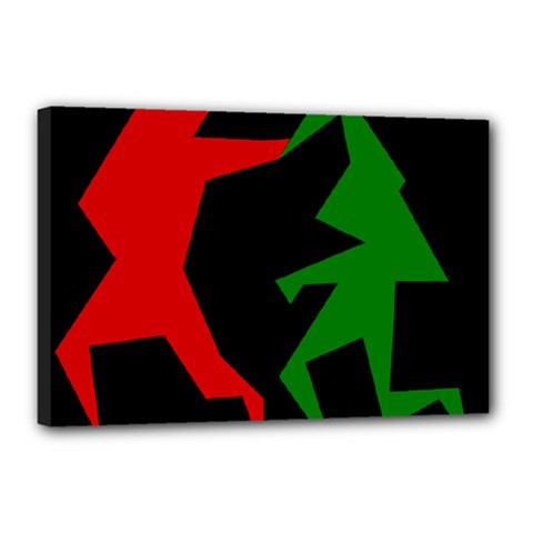 Ninja Graphics Red Green Black Canvas 18  X 12  by Alisyart