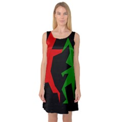 Ninja Graphics Red Green Black Sleeveless Satin Nightdress by Alisyart
