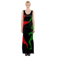 Ninja Graphics Red Green Black Maxi Thigh Split Dress