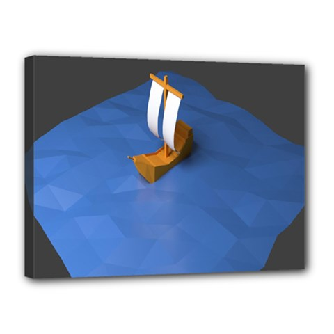 Low Poly Boat Ship Sea Beach Blue Canvas 16  X 12