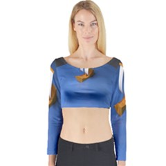 Low Poly Boat Ship Sea Beach Blue Long Sleeve Crop Top by Alisyart
