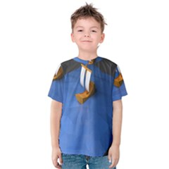 Low Poly Boat Ship Sea Beach Blue Kids  Cotton Tee by Alisyart