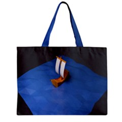 Low Poly Boat Ship Sea Beach Blue Mini Tote Bag by Alisyart