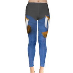 Low Poly Boat Ship Sea Beach Blue Classic Winter Leggings