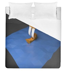 Low Poly Boat Ship Sea Beach Blue Duvet Cover (queen Size) by Alisyart