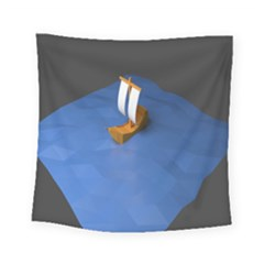 Low Poly Boat Ship Sea Beach Blue Square Tapestry (small) by Alisyart