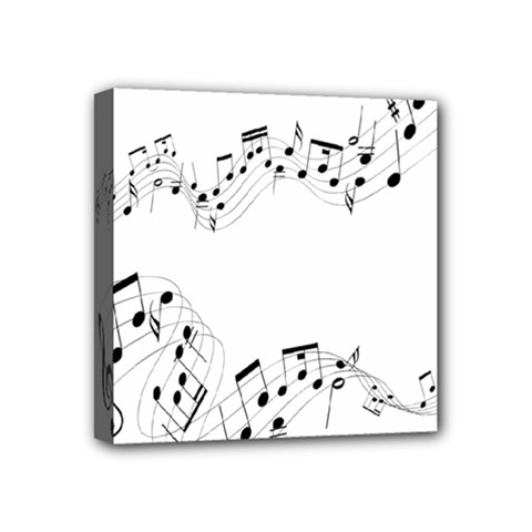 Music Note Song Black White Mini Canvas 4  X 4  by Alisyart