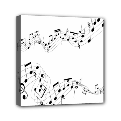 Music Note Song Black White Mini Canvas 6  X 6  by Alisyart