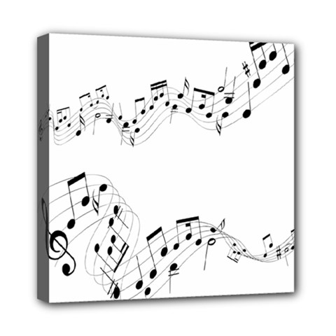 Music Note Song Black White Mini Canvas 8  X 8
