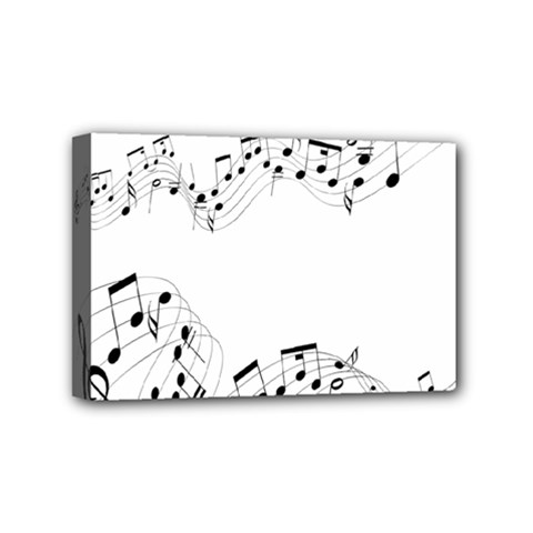Music Note Song Black White Mini Canvas 6  X 4  by Alisyart