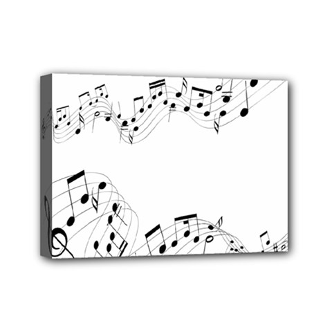 Music Note Song Black White Mini Canvas 7  X 5  by Alisyart