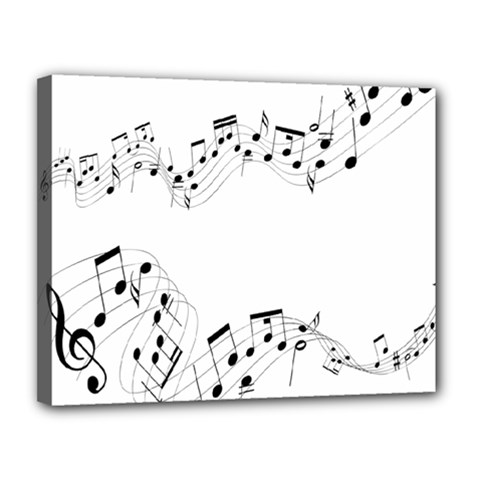 Music Note Song Black White Canvas 14  X 11  by Alisyart