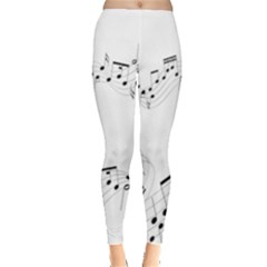Music Note Song Black White Leggings  by Alisyart