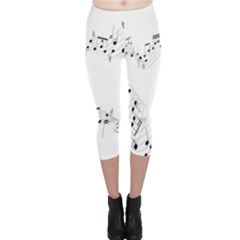 Music Note Song Black White Capri Leggings