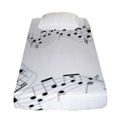 Music Note Song Black White Fitted Sheet (single Size) by Alisyart