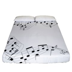 Music Note Song Black White Fitted Sheet (queen Size)