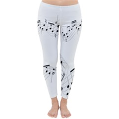 Music Note Song Black White Classic Winter Leggings