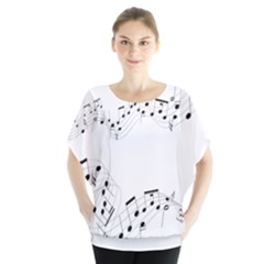 Music Note Song Black White Blouse