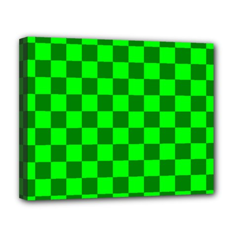 Plaid Flag Green Deluxe Canvas 20  X 16   by Alisyart