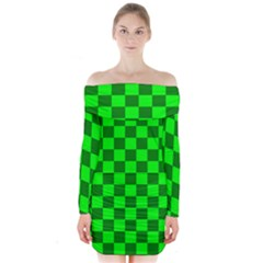 Plaid Flag Green Long Sleeve Off Shoulder Dress