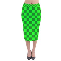 Plaid Flag Green Velvet Midi Pencil Skirt by Alisyart