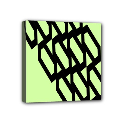 Polygon Abstract Shape Black Green Mini Canvas 4  X 4