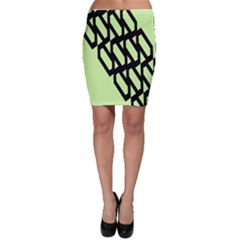 Polygon Abstract Shape Black Green Bodycon Skirt by Alisyart