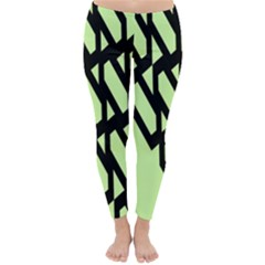 Polygon Abstract Shape Black Green Classic Winter Leggings
