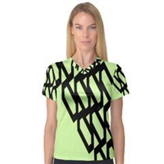 Polygon Abstract Shape Black Green Women s V Neck Sport Mesh Tee by Alisyart