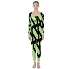 Polygon Abstract Shape Black Green Long Sleeve Catsuit by Alisyart
