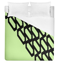 Polygon Abstract Shape Black Green Duvet Cover (queen Size)