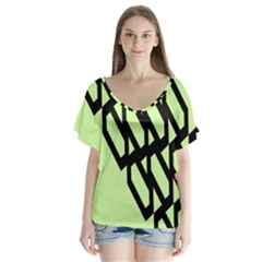 Polygon Abstract Shape Black Green Flutter Sleeve Top