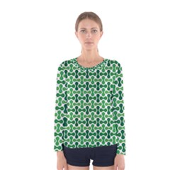 Green White Wave Women s Long Sleeve Tee