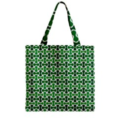 Green White Wave Zipper Grocery Tote Bag by Alisyart
