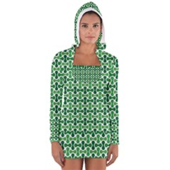 Green White Wave Women s Long Sleeve Hooded T-shirt by Alisyart