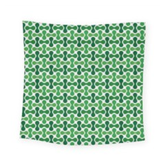 Green White Wave Square Tapestry (small) by Alisyart